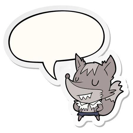 cartoon halloween werewolf with speech bubble sticker Stock Illustratie