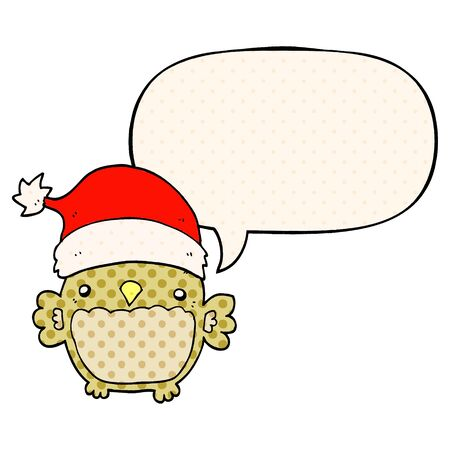 cute christmas owl with speech bubble in comic book style