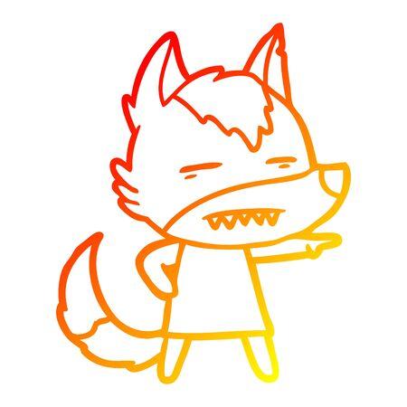warm gradient line drawing of a cartoon wolf showing teeth