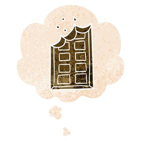 cartoon bar of chocolate with thought bubble in grunge distressed retro textured style