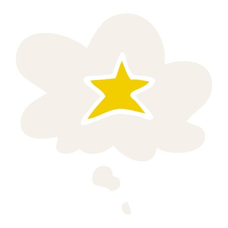 cartoon star symbol with thought bubble in retro style