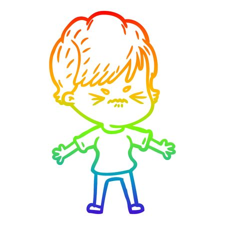 rainbow gradient line drawing of a cartoon frustrated woman Vetores