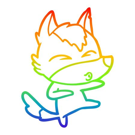 rainbow gradient line drawing of a cartoon wolf whistling Stock Illustratie