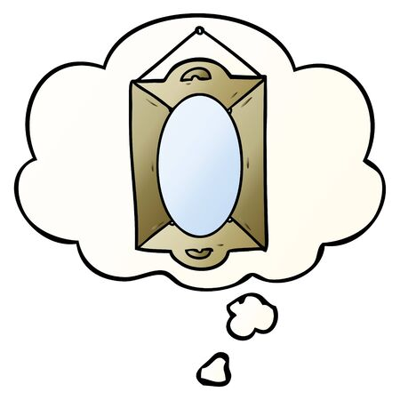 cartoon mirror with thought bubble in smooth gradient style