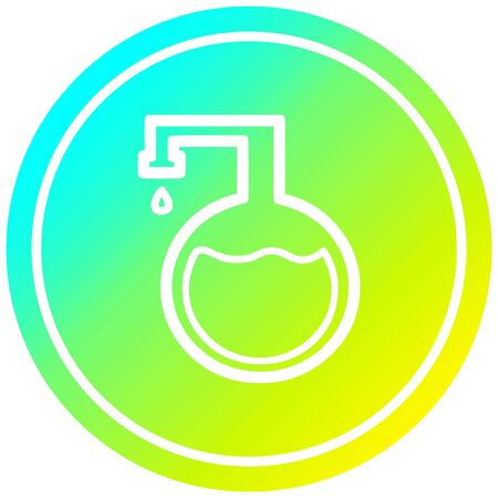 chemical vial circular icon with cool gradient finish Çizim