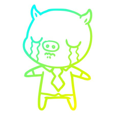 cold gradient line drawing of a cartoon pig crying wearing shirt and tie