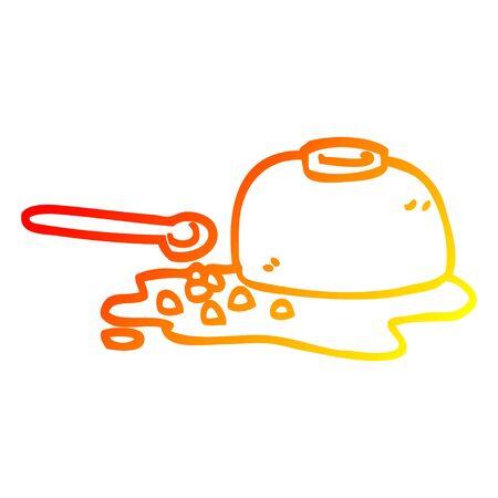 warm gradient line drawing of a cartoon spilt cereal bowl Illustration