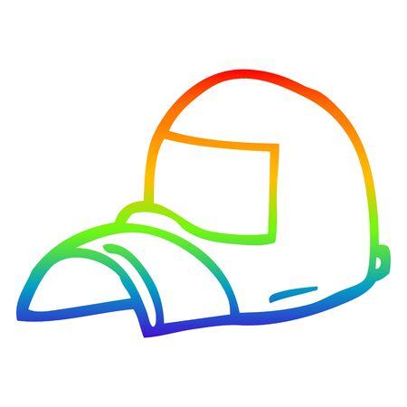 rainbow gradient line drawing of a cartoon cap