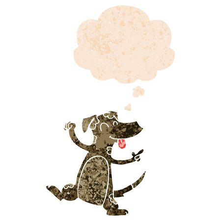 cartoon dancing dog with thought bubble in grunge distressed retro textured style