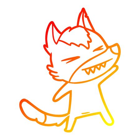 warm gradient line drawing of a angry wolf cartoon Stock Illustratie
