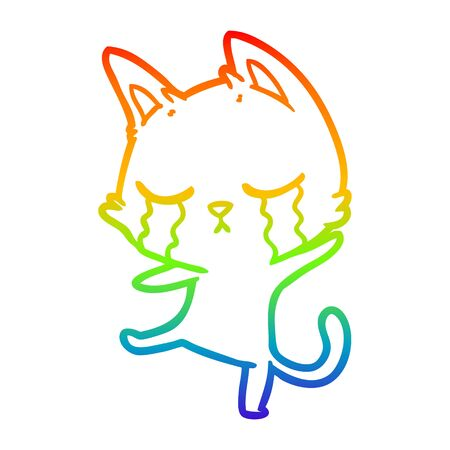 rainbow gradient line drawing of a crying cartoon cat performing a dance
