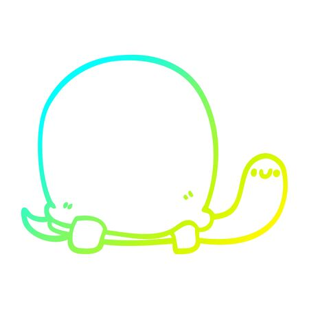 cold gradient line drawing of a cute cartoon tortoise