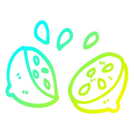 cold gradient line drawing of a cartoon halved lemon 向量圖像