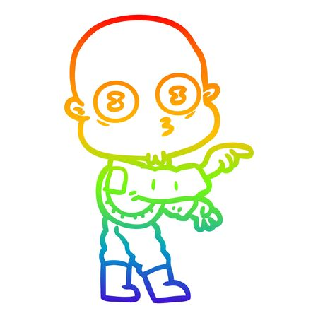 rainbow gradient line drawing of a cartoon weird bald spaceman pointing Ilustrace