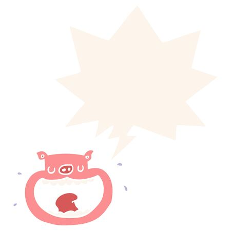 cartoon obnoxious pig with speech bubble in retro style