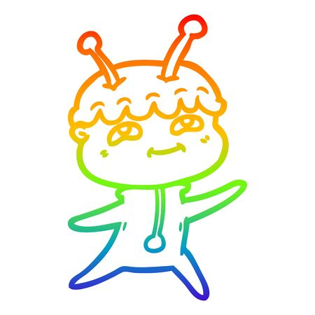 rainbow gradient line drawing of a friendly cartoon spaceman dancing Illustration
