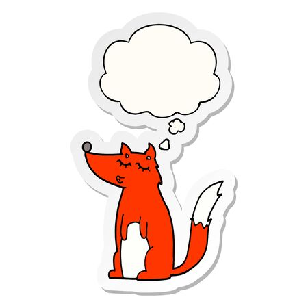 cartoon wolf with thought bubble as a printed sticker
