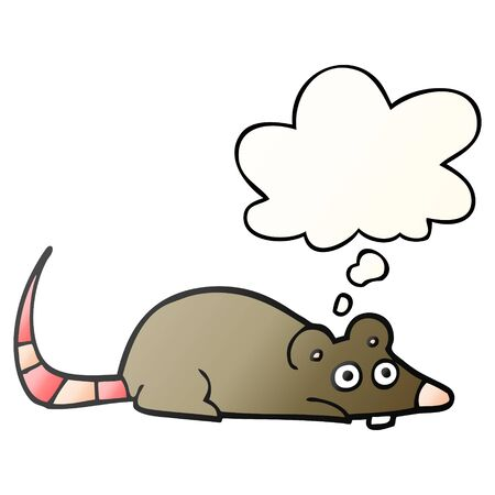 cartoon mouse with thought bubble in smooth gradient style Иллюстрация