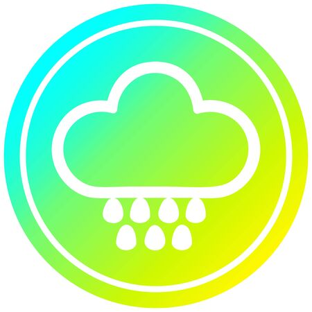 rain cloud circular icon with cool gradient finish Фото со стока - 130603789