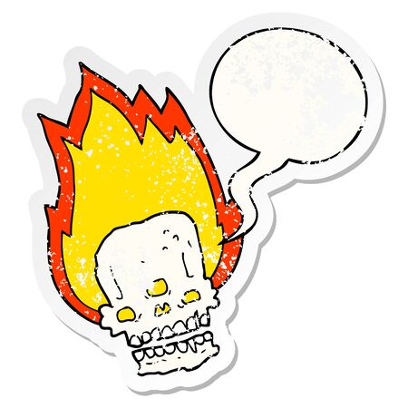 spooky cartoon flaming skull with speech bubble distressed distressed old sticker