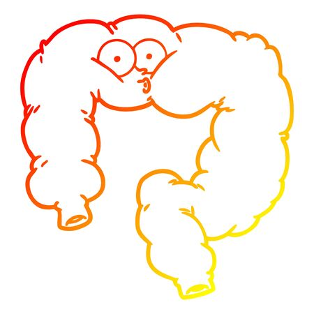 warm gradient line drawing of a cartoon surprised colon