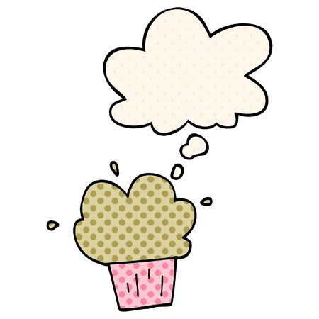cartoon cupcake with thought bubble in comic book style Illustration