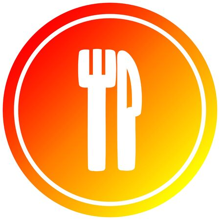 knife and fork circular icon with warm gradient finish