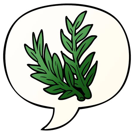 cartoon plant with speech bubble in smooth gradient style