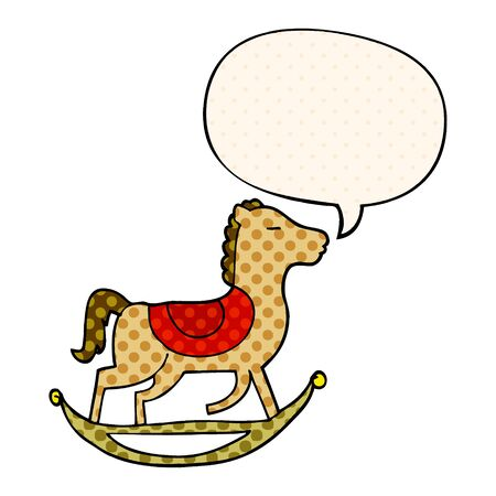 cartoon rocking horse with speech bubble in comic book style