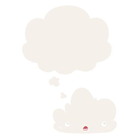 cute cartoon cloud with thought bubble in retro style