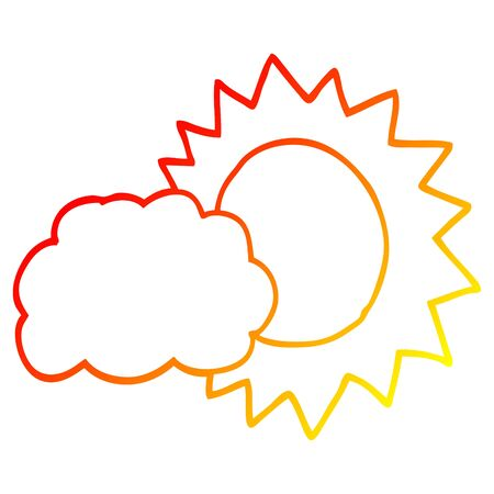 warm gradient line drawing of a cartoon weather