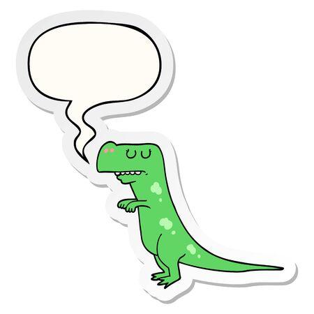 cartoon dinosaur with speech bubble sticker