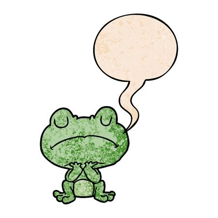 cartoon frog waiting patiently with speech bubble in retro texture style Illustration