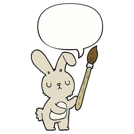 cartoon rabbit with paint brush with speech bubble Stock Illustratie