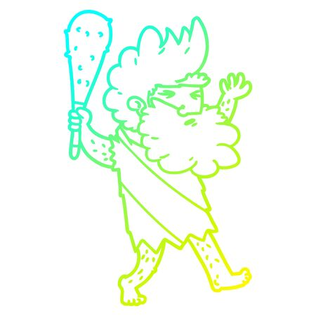 cold gradient line drawing of a cartoon cave man