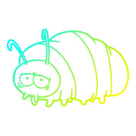 cold gradient line drawing of a cartoon bug
