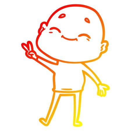 warm gradient line drawing of a happy cartoon bald man