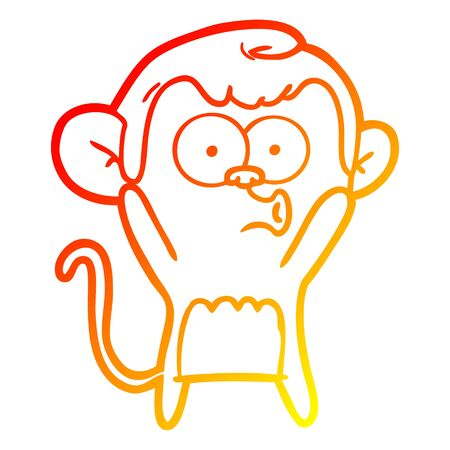 warm gradient line drawing of a cartoon surprised monkey