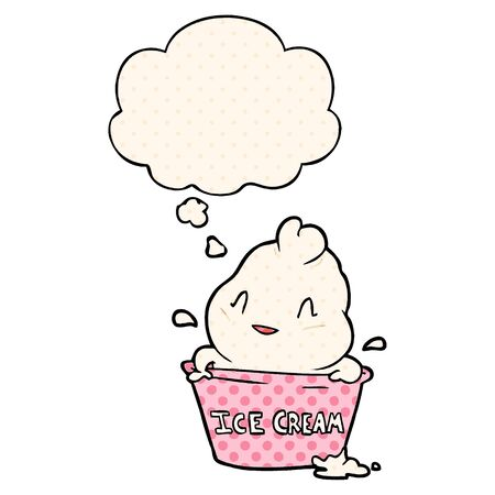 cute cartoon ice cream with thought bubble in comic book style