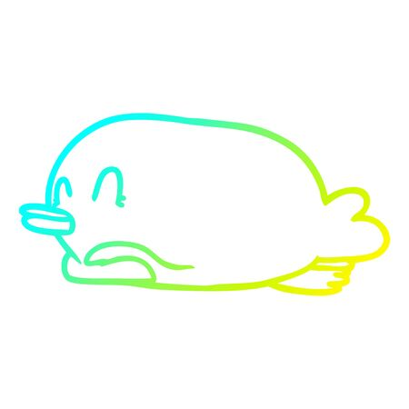 cold gradient line drawing of a penguin lying on belly  イラスト・ベクター素材