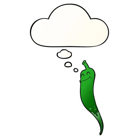 cartoon chili pepper with thought bubble in smooth gradient style Ilustração
