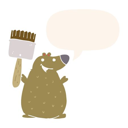 cartoon bear with paint brush with speech bubble in retro style