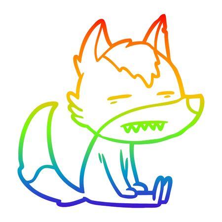 rainbow gradient line drawing of a cartoon sitting  wolf showing teeth