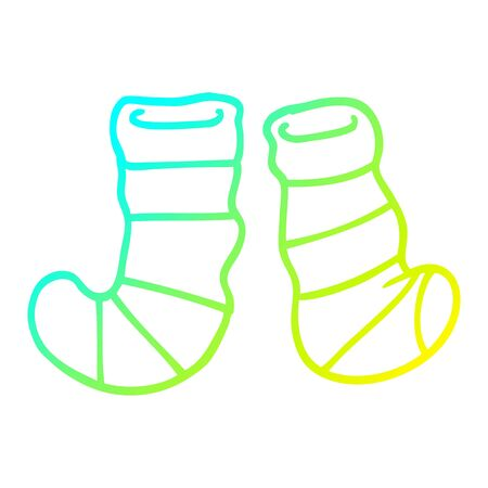 cold gradient line drawing of a cartoon striped socks Иллюстрация