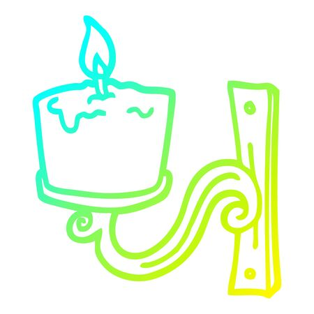 cold gradient line drawing of a cartoon old candle holder Ilustracja