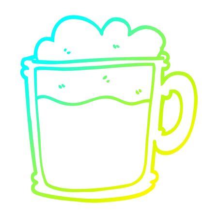 cold gradient line drawing of a cartoon foamy latte 일러스트