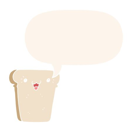 cartoon slice of bread with speech bubble in retro style