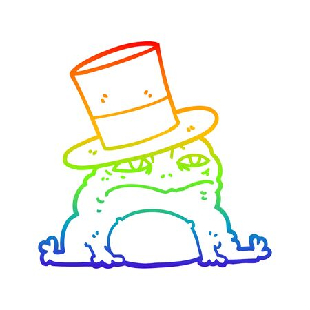 rainbow gradient line drawing of a cartoon rich toad Ilustração
