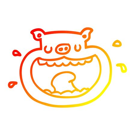 warm gradient line drawing of a cartoon obnoxious pig