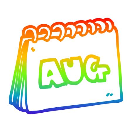 rainbow gradient line drawing of a cartoon calendar showing month of august